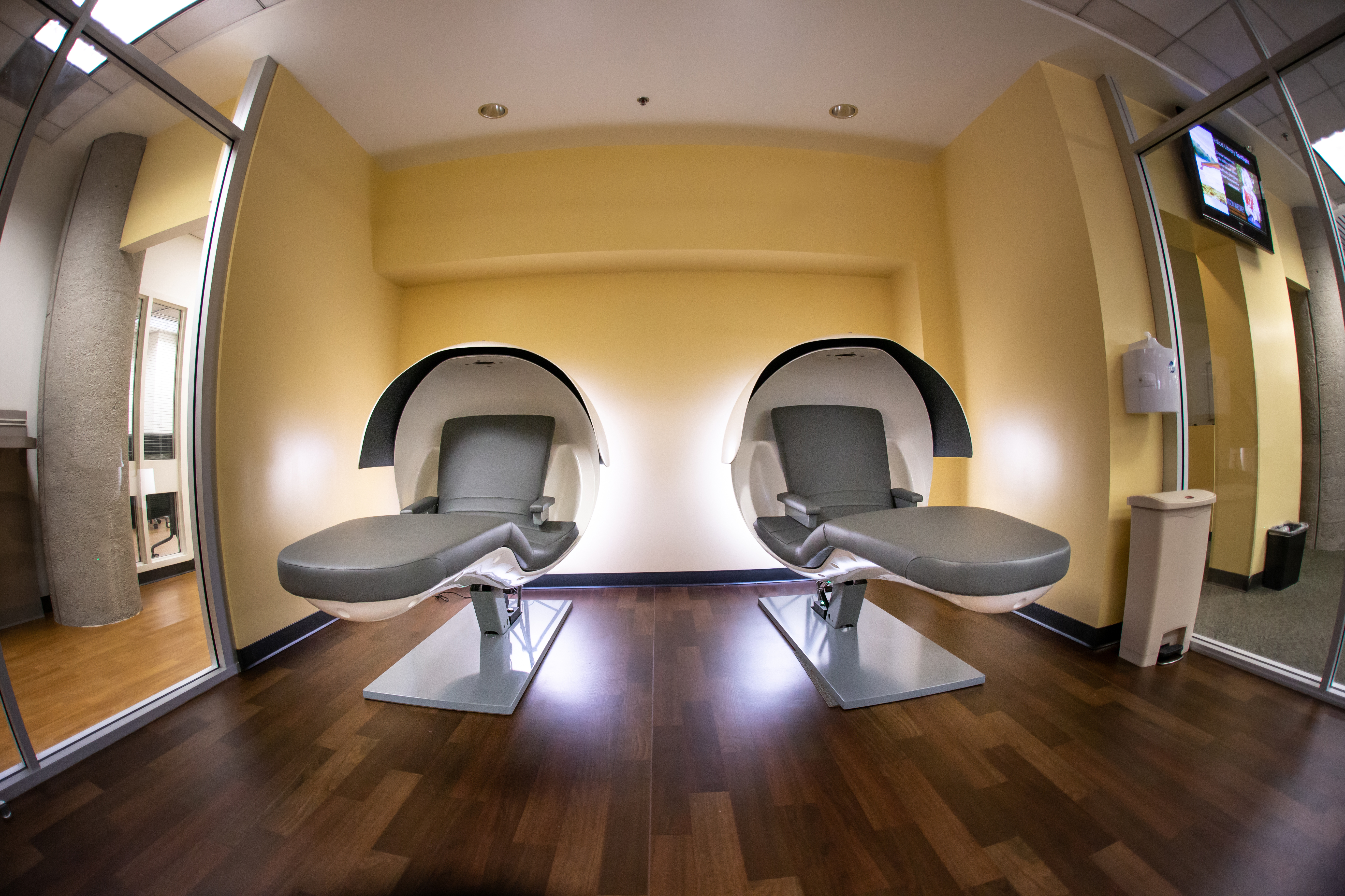 Sleep pods at the 24/7 Research Lounge at the Grunigen Medical Library