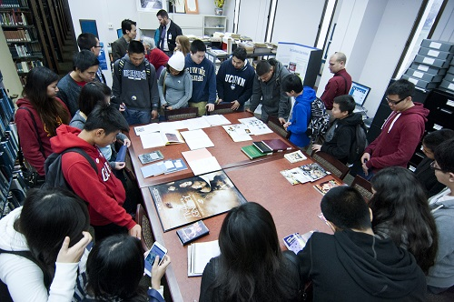 Garden Grove high school students in the Southeast Asian Archive.