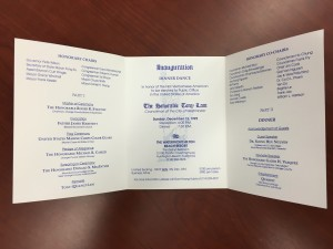 The program from Lam's inauguration dinner celebrating his successful campaign.