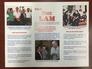A pamphlet highlighting Lam's police endorsement and introducing his platform.
