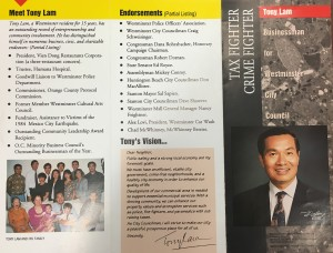 A pamphlet from the 1992 election introducing Lam to the voters.