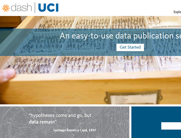 UCI Dash website preview with an image of a collection of dead insects in an archival box