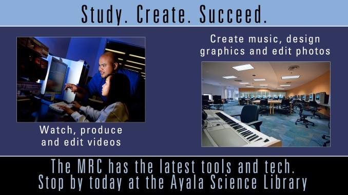 Study, create, succeed. At the MRC, you can watch, produce, and edit videos or create music, design graphics and edit photos.