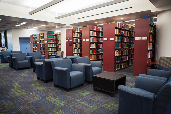 Comfortable seating near the book shelves