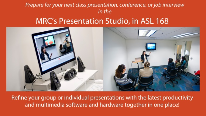 Prepare for your next class presentation, conference, or job interview in the MRC's well-equipped presentation studio.
