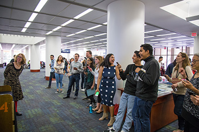 Patrons at a UCI Libraries event