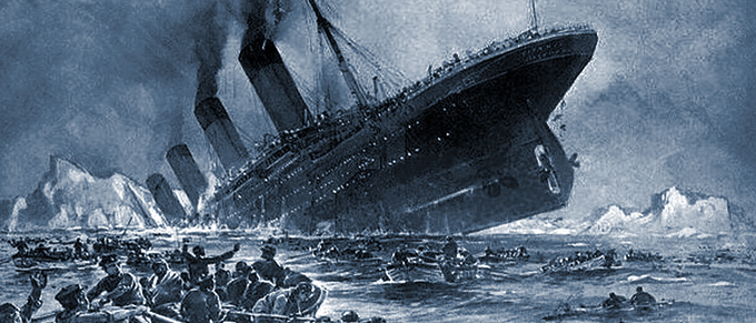 Painting depicting the Titanic